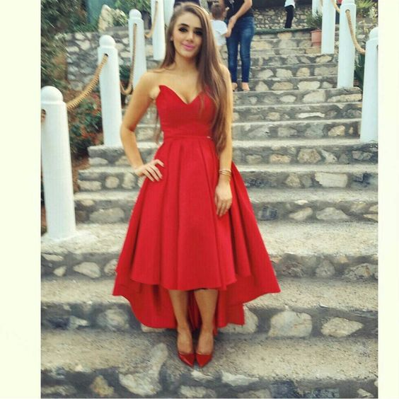 Sexy Hi Low Prom Dressred Homecoming Dresshigh Low Red Prom Gown