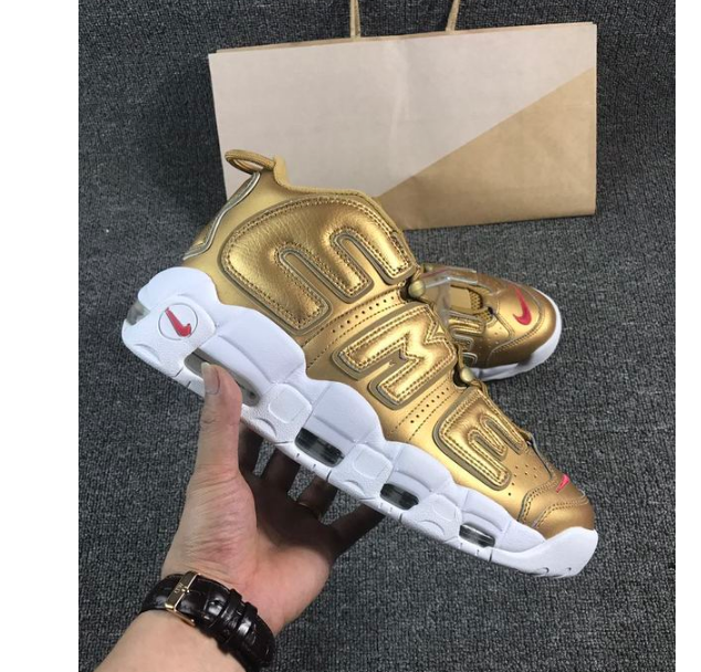 size 40 afec7 1ef20 Nike x Supreme Air More Uptempo Suptempo Gold Box Logo 902290-700 on  Storenvy