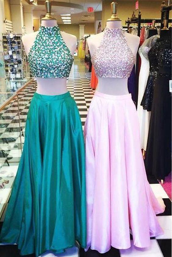 Hot Sell 2 Piece Hunter Green/Pink Long Prom Dresses · dressydances ...