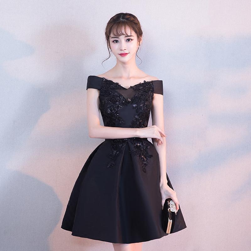 8df972b5a342 Cute black A line off shoulder short prom dress, homecoming dress