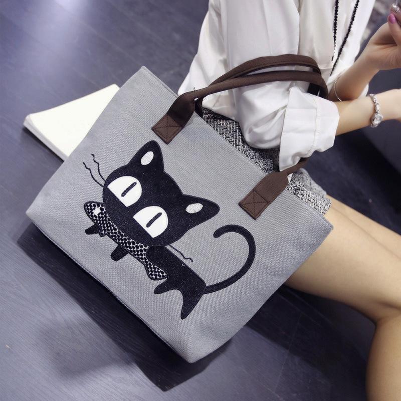 355cfbd6bc ... 2017 explosive cartoon cat eat fish canvas women bag Korean fashion  handbag shoulder bag - Thumbnail