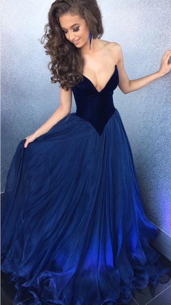Royal Blue V-neck Tulle Prom Ball Gown,HS153 · SIMI Bridal · Online ...