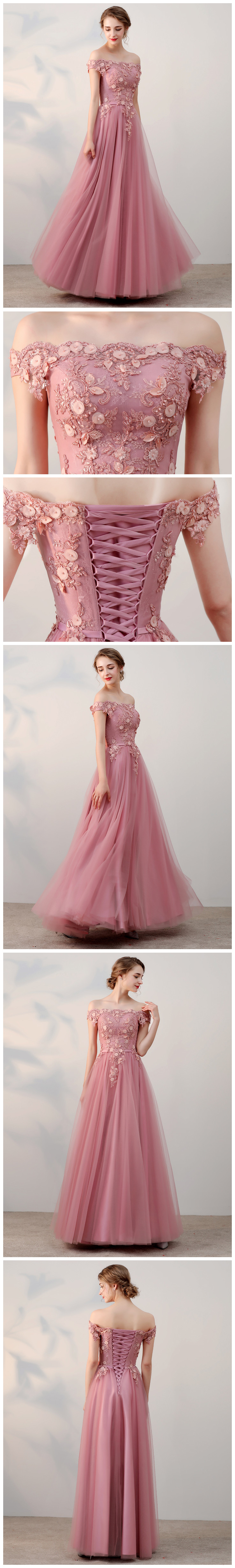 2110c53632ed Chic A-line Off-the-shoulder pink Applique Tulle Modest Long Prom Dress