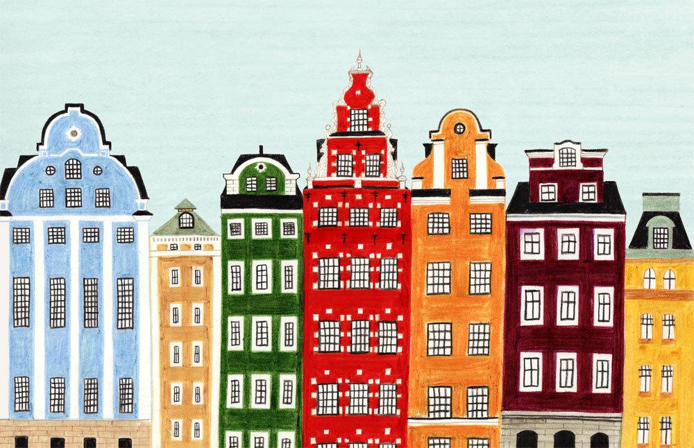 Stockholm Sweden Scandinavian Skyline Illustration Print
