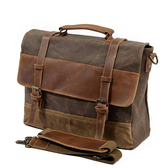 ce0d9261f8d Leather Messenger Bag, Waxed Canvas Messenger Bag, Mens Laptop Messenger Bag,  Womens Laptop