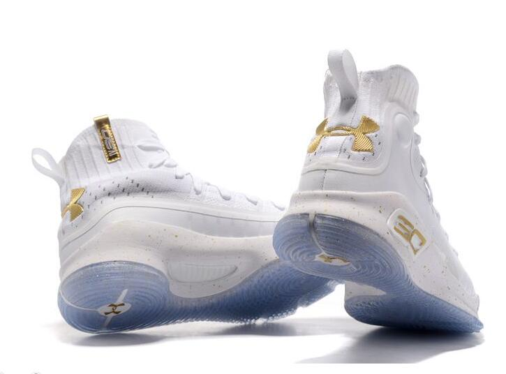 2017 Under Armour Curry 4 NBA Finals High Tops White Gold Cheap Sale ... 752343f9b
