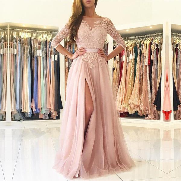 Pink Long Sleeve Prom Dresses