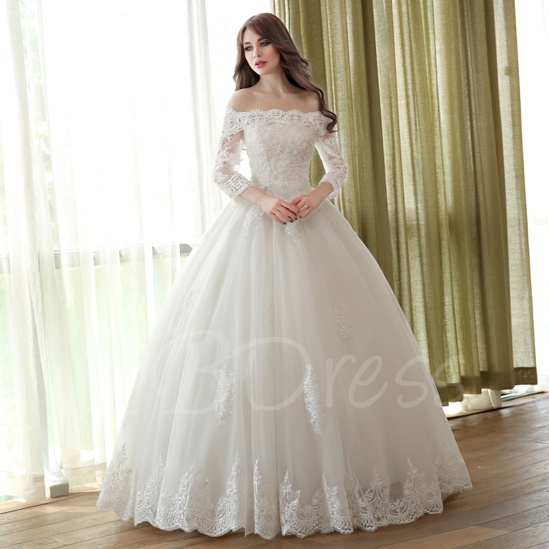 ad8c22a245e W194 Off-The-Shoulder Ball Gown Three Quarters Length Sleeves Lace Wedding  Dress