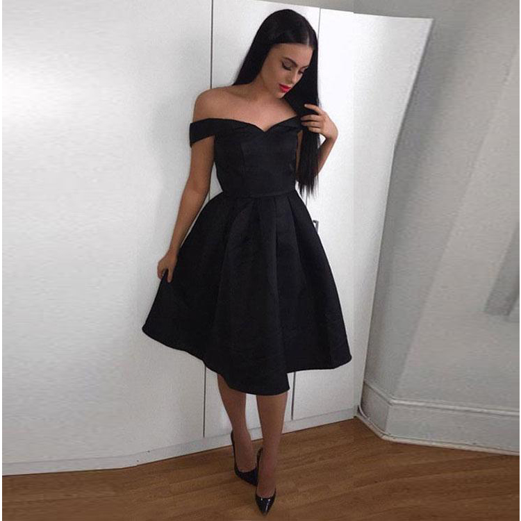 eb953a895376d Cute Off The Shoulder Cocktail Dress,A Line Homecoming Dress,Black Little  Dress
