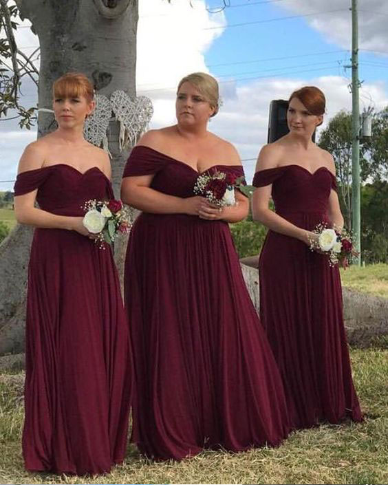 db27a03d45c Elegant Off the Shoulder Burgundy Long Bridesmaid Dresses on Storenvy