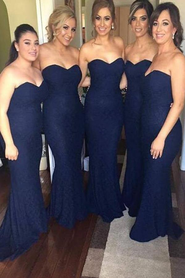 navy blue long sexy mermaid cheap bridesmaid