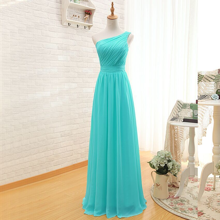 One Shoulder A Line Long Chiffon Turquoise Bridesmaid -7579