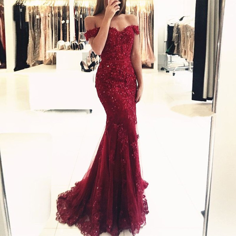 1c328e1c8e0c Off Shoulder Red Lace Mermaid Evening Prom Dresses, Sexy Lace Beaded Party Prom  Dress,