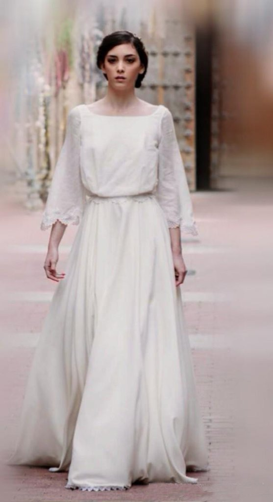 W417 Sexy Ivory Lace Wedding Dresseslong Sleeve Backless Wedding