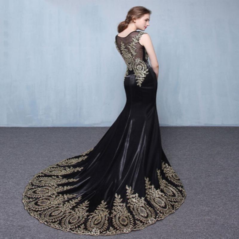 Golden Appliques Prom Dresslong Sleeve Prom Dressgorgeous Black Prom Dressmermaid Prom Dresses Pd21134 From Bellabridal