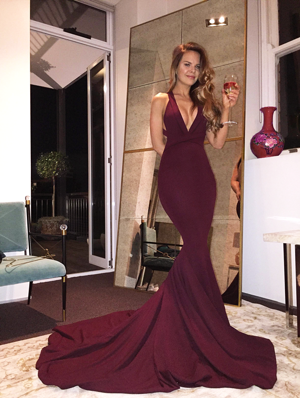 Sexy Mermaid Maroon Backless Evening Prom Dresses Long Deep V