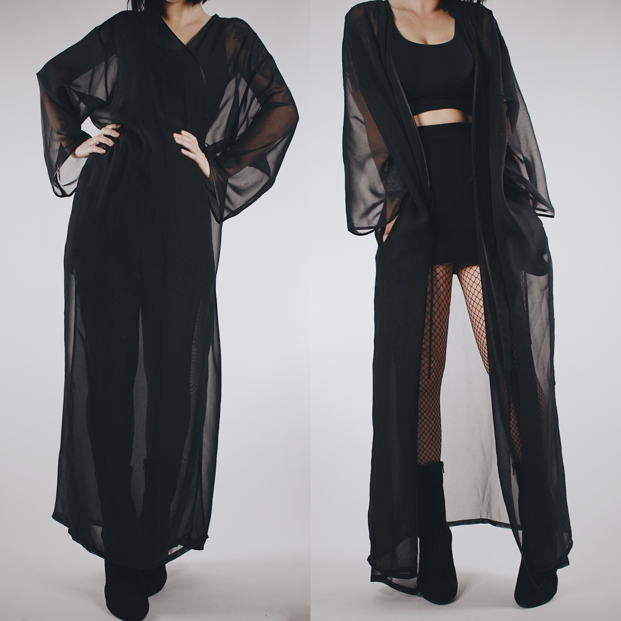 9aee51f29150 ... CLAIMED @skully_mean - Vintage 80s Black Sheer Flowy Multi-Way Dressing  Gown - Thumbnail ...
