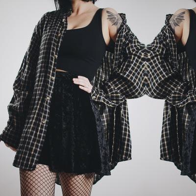 7ef9513eef Claimed @bitterbarista1992 - vintage 90s fall vibes plaid flannel - black /  mustard - Thumbnail
