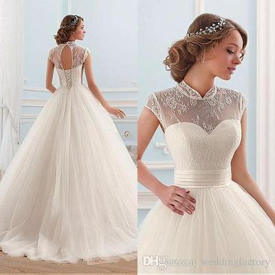 ad2659e7ef4e7 Elegant Ball Gown Wedding Dresses Princess Sheer High Neck Cap Sleeves Cut  Out Corset Back Soft Tulle Bridal Gowns 2018 from lovedress