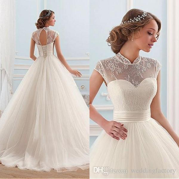 Elegant Ball Gown Wedding Dresses Princess Sheer High Neck Cap ...