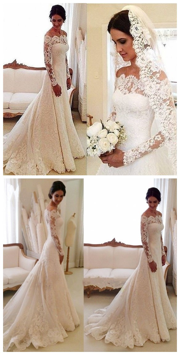 White Off-the-shoulder Lace Long Sleeve Bridal Gowns Cheap Simple Custom  Made Wedding f459c13e1d31