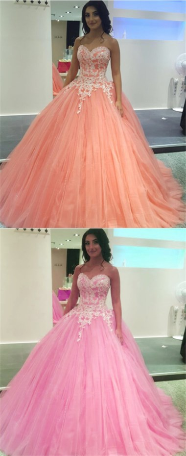 Pretty Lace Appliques Tulle Quinceanera Dresses Ball Gowns prom ...