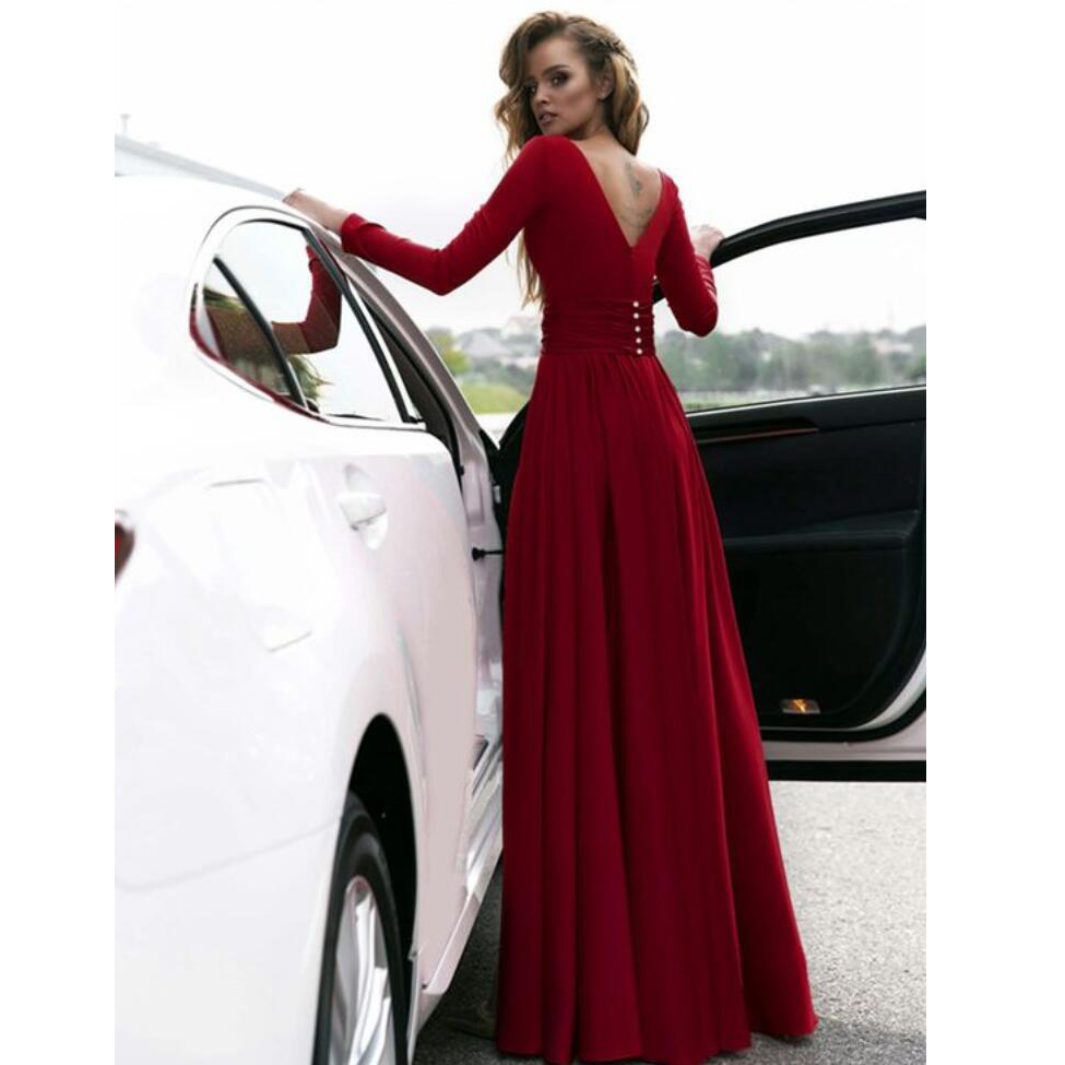 Long Sleeves Formal Evening Gown Wine Red,V Neck Prom Dress With ...