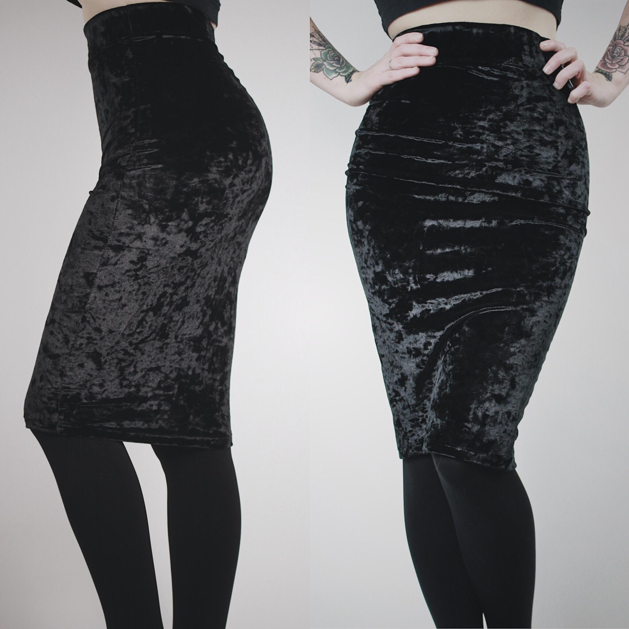 7e700eea0b RESERVED FOR JAZMIN - Black Crushed Velvet Pencil Skirt · Last Rites ...