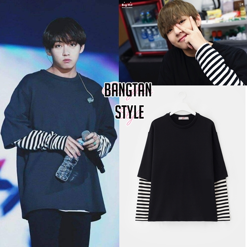 1bbb413a6 Taehyung Black Shirt with Striped Sleeves on Storenvy