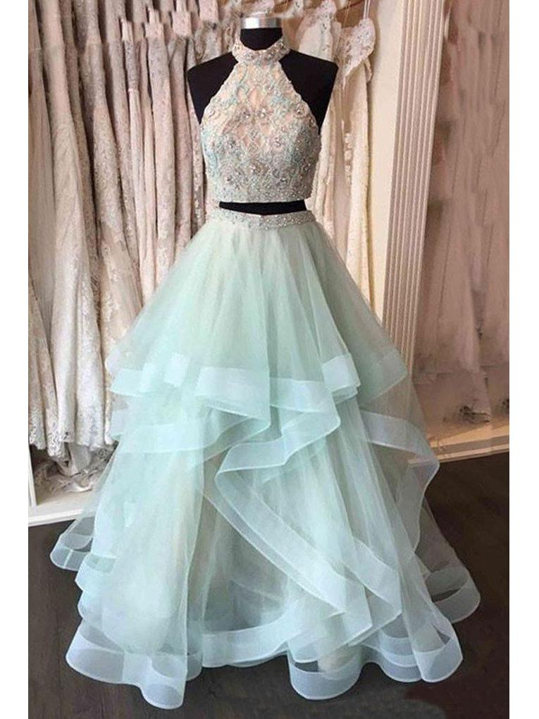 6ea79823 Two Piece Prom Dresses High Neck Sequins Sage Long Sexy Blue Prom Dress/Evening  Dress