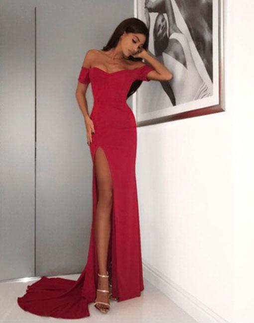 9d7abeb43daa Gorgeous Red Off Shoulder Prom Dress