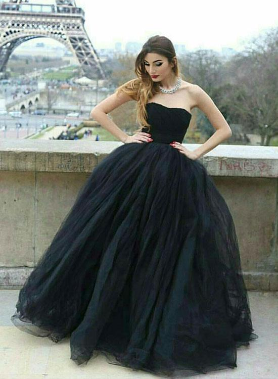 Stylish A Line Strapless Black Tulle Long Promevening Dress On Storenvy