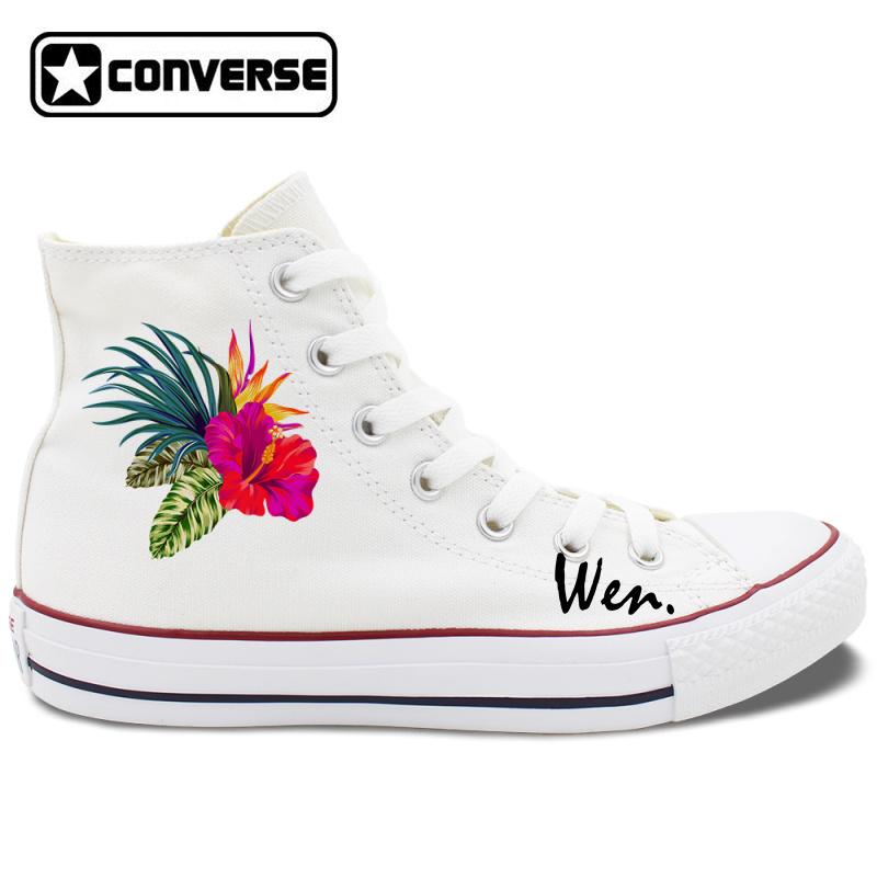 Hibiscus Flowers Original Design Flower Converse Shoes Floral Canvas ... fa27b7258