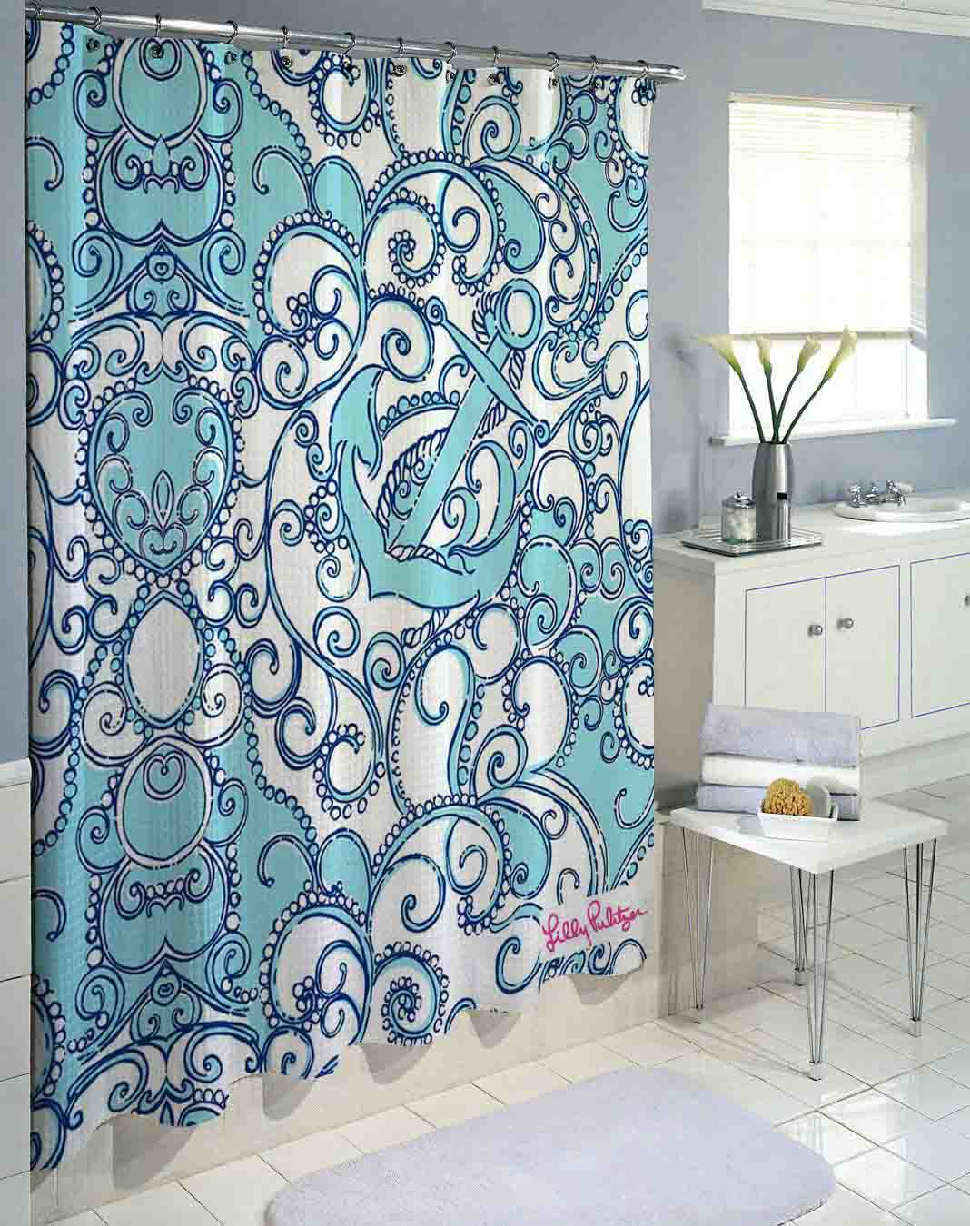 Lilly Pulitzer Blue Anchor Custom Shower Curtain Print On