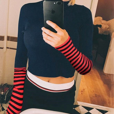 Free shipping high neck stripe long sleeve slim knitted top e2bf936df