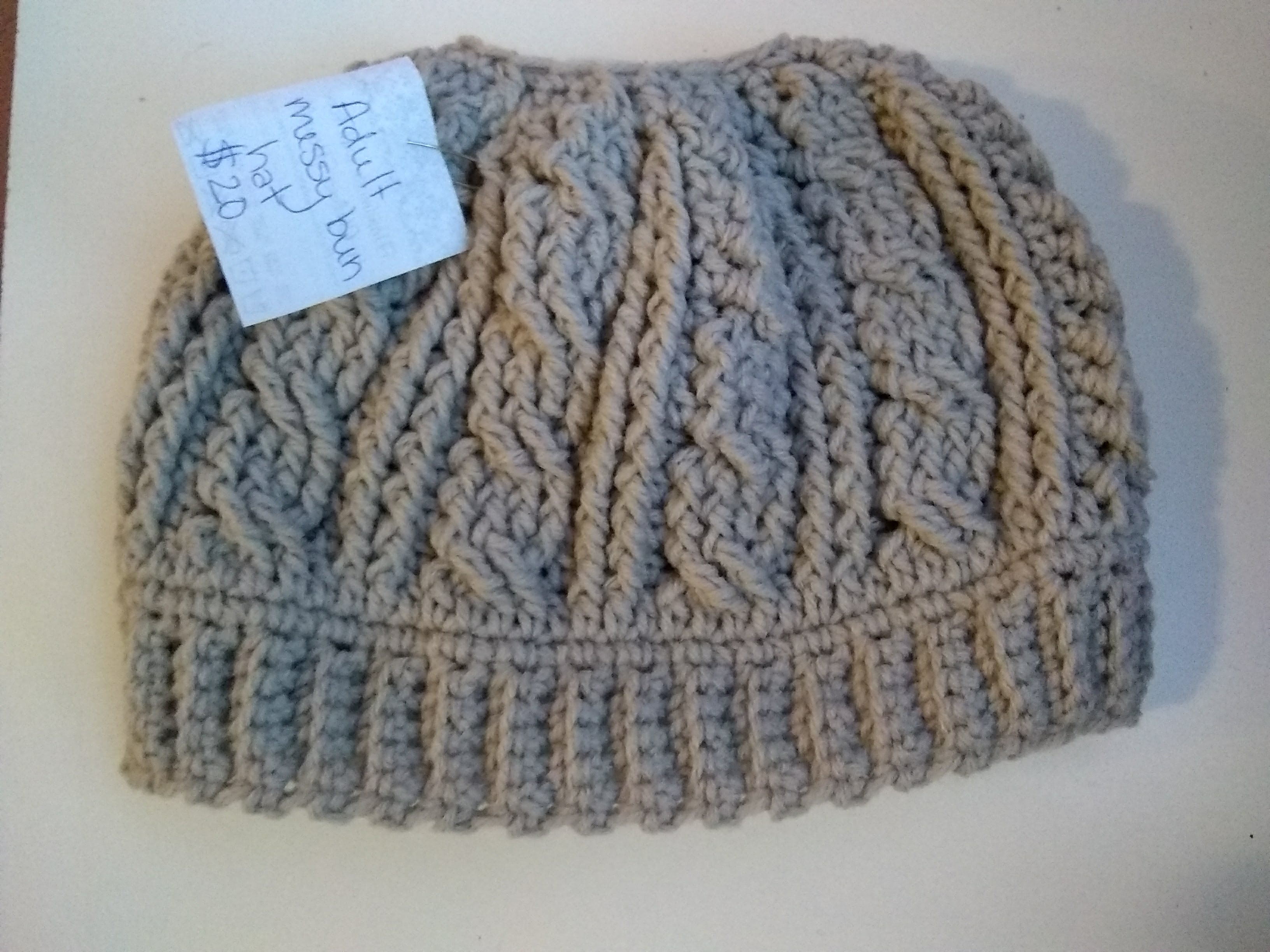 Cabled Messy Bun Hat (Made to Order) on Storenvy 14355e826bb