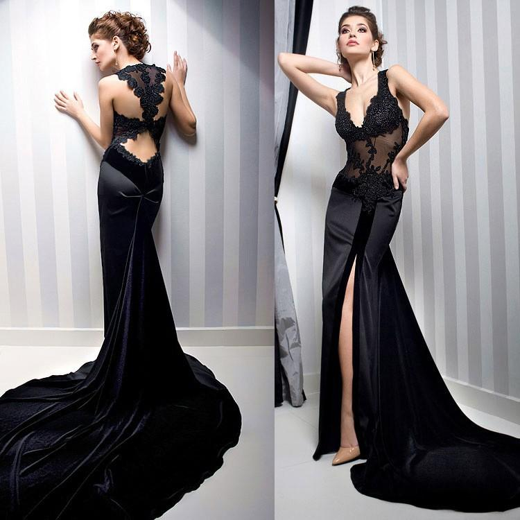 Attractive New Custom Prom Gowns V-Neck Formal Long Lace Mermaid ...