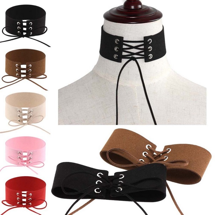 81dc83aedd ... Sexy Gothic Suede Velvet Leather Wide Lace Up Tie Corset Choker  Necklaces - Thumbnail 2 ...