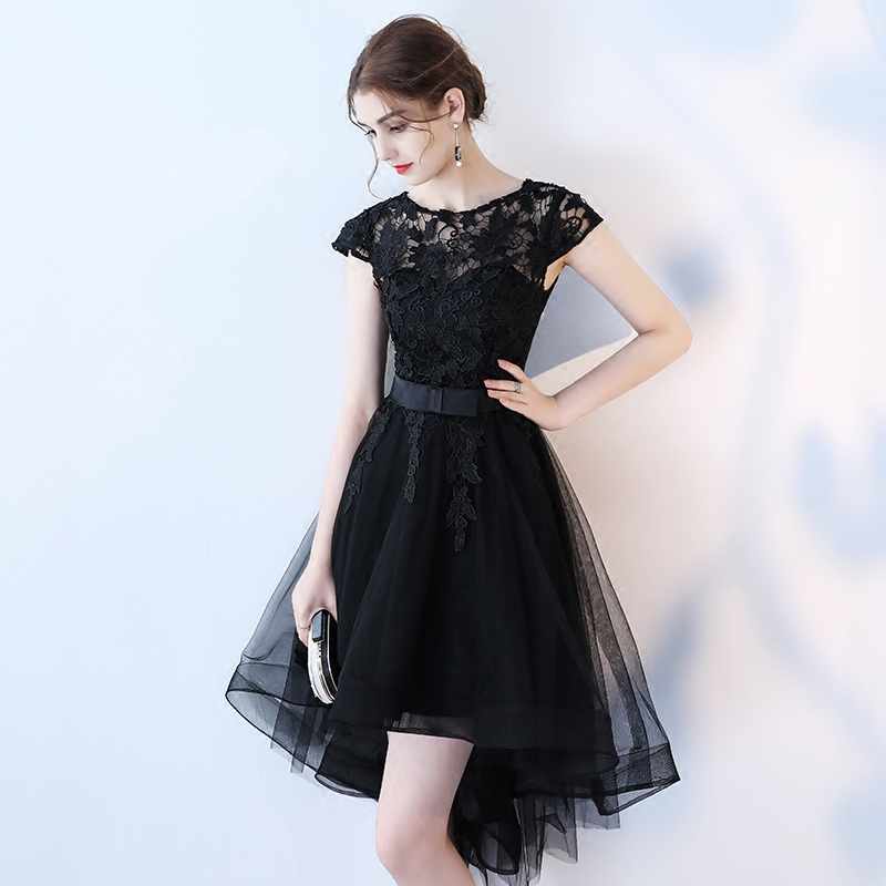 326895024a Black lace short prom dress