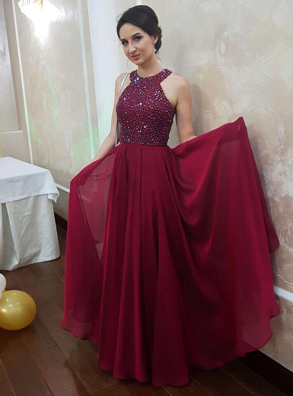 Sparkly Burgundy Chiffon Long Open Back Beaded Senior Prom