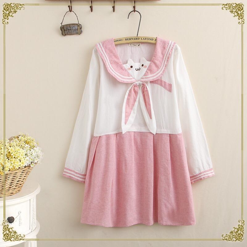 0d1d73597d367 FREE SHIPPING! Pink Sailor Collar Long Sleeve Dress