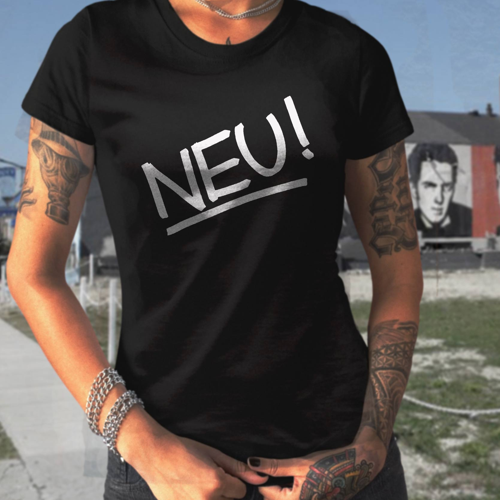 Neu T Shirt Screen Print Krautrock Kraftwerk Vintage Tees T