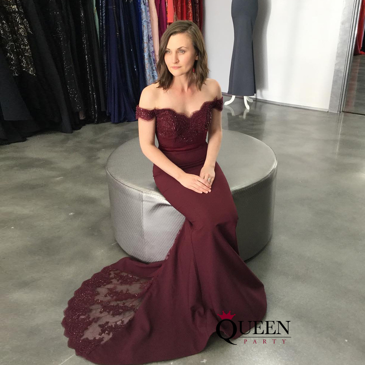 Burgundy Lace Appliques Off-the-shoulder Mermaid Formal Gown With ...