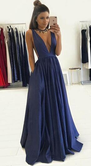 42571ff5c6be Gorgeous A-line Deep V Neck Long Dark Blue Prom Dress Formal Evening Dress