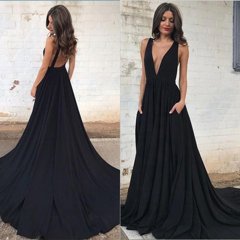 Black deep v neck long formal gown women evening dresses on Storenvy