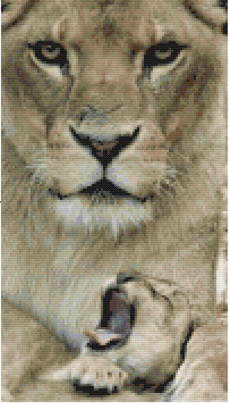 Lioness and Cub Cross Stitch KIT from CSDesignsbyLeah