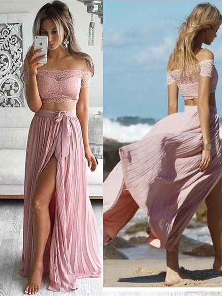 ff269f1a7d0d Two Piece Off the shoulder Pink Long Boho Prom Dress with Side Slit ...