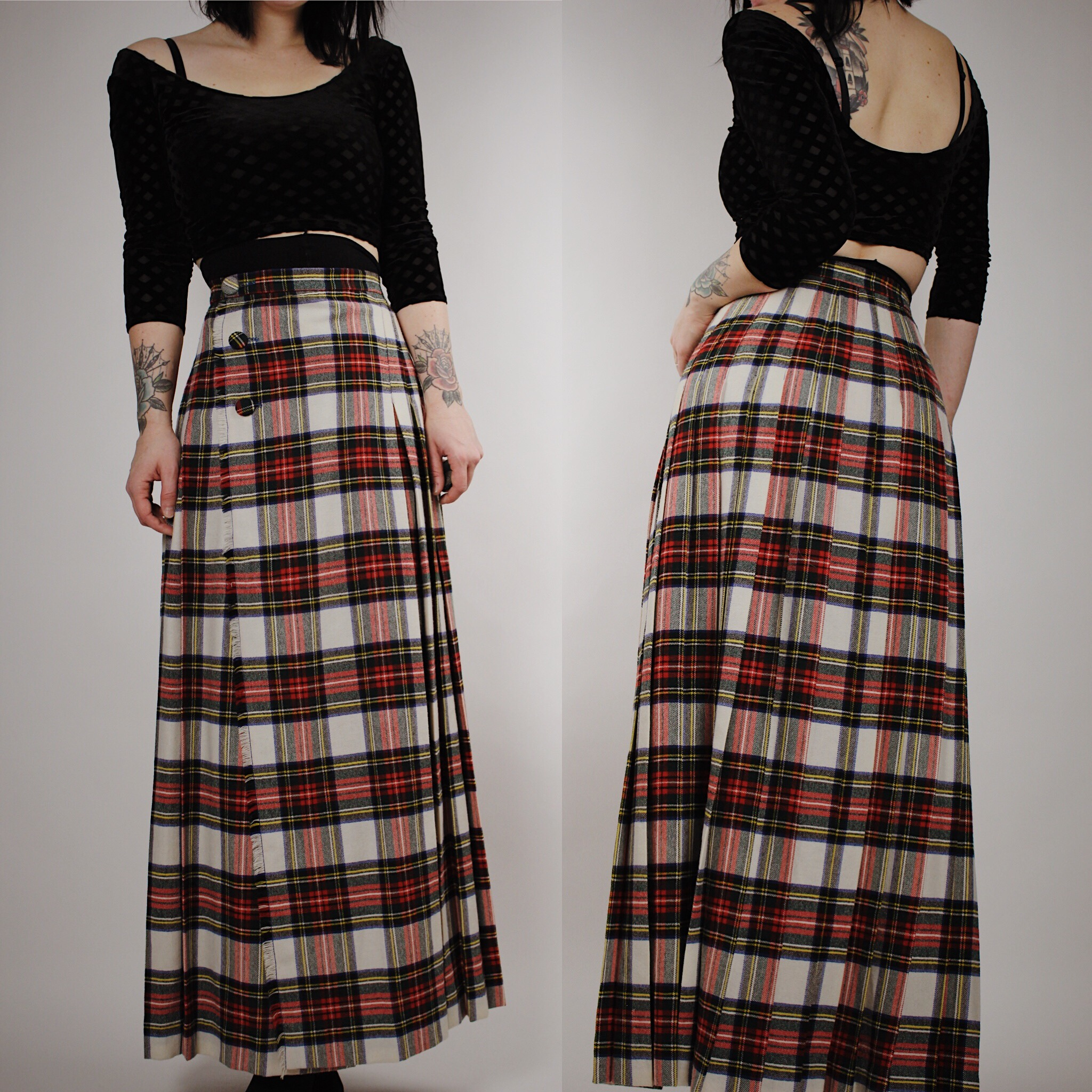 7e0bcc9626 RESERVED FOR SOPHIE - Vintage 70s Winter Vibes Plaid Flannel Foldover Maxi  Skirt