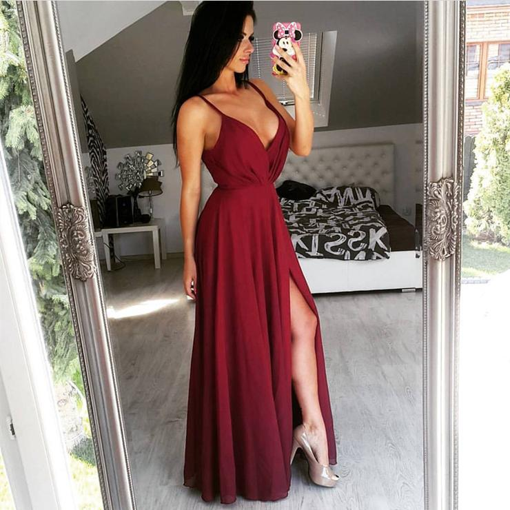 Simple Long Chiffon V-Neck Prom Dresses 044f69dbf