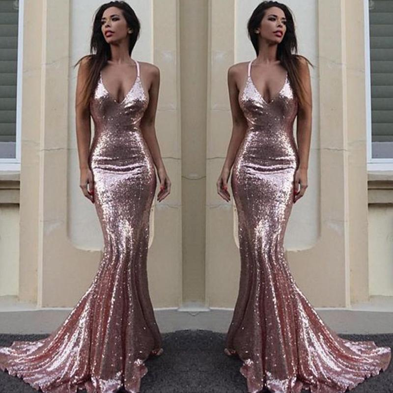 3c27e17135c Sexy Backless Rose Gold Sequin Mermaid Evening Prom Dresses
